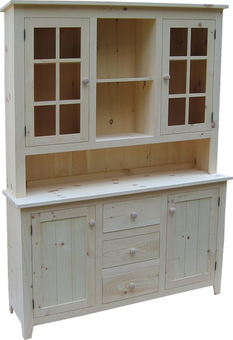 Rustic Buffet with Hutch 3 Drawer 4 Door