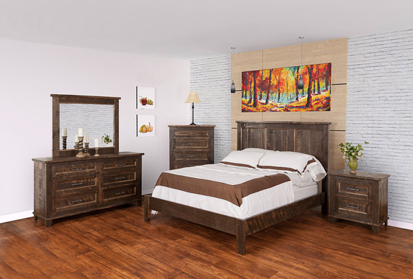 Rustic Algonquin Bedroom Set in finished brown maple