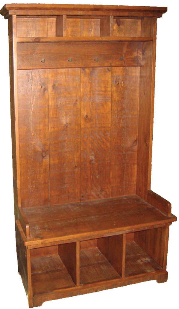 Rustic Hall Seat with Cubby