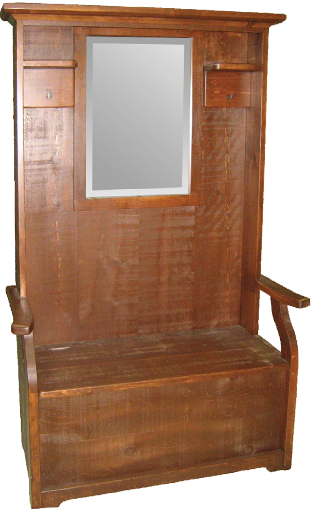 Rustic Hall Seat with Mirror