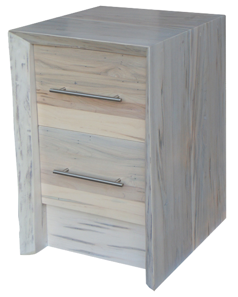 Live edge waterfall 2 drawer nightstand craftworks at for Waterfall design nightstand