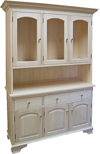 Eyebrow Buffet and Hutch in Unfinished Maple