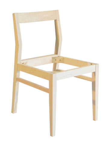 Anthony side chair (without seat) shown in unfinished maple