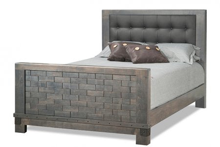 Barrelworks High Footboard Bed Leather Headboard
