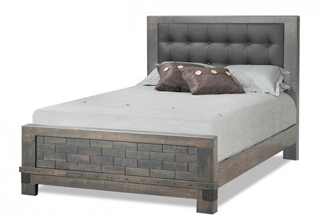 Barrelworks Low Footboard Bed Leather Headboard