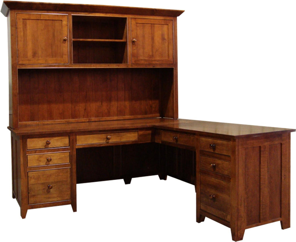 A Series Corner Office Desk with Hutch in Brown Maple