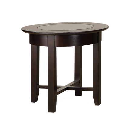 Demi-Lune Round Glass Top End Table No Shelf (DR23G)