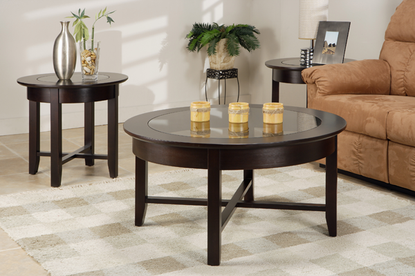 Demi-Lune Round Tables with Glass Top