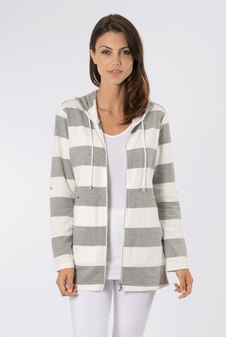 Nautical Wide Striped Hooded Jacket
