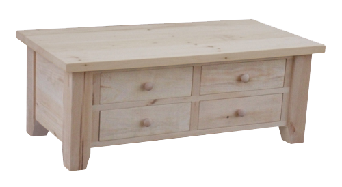 Dakota Rough Cut 4 Drawer Coffee Table
