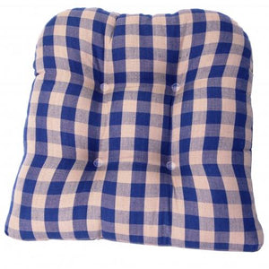Tufted Chair Pad - Navy Check