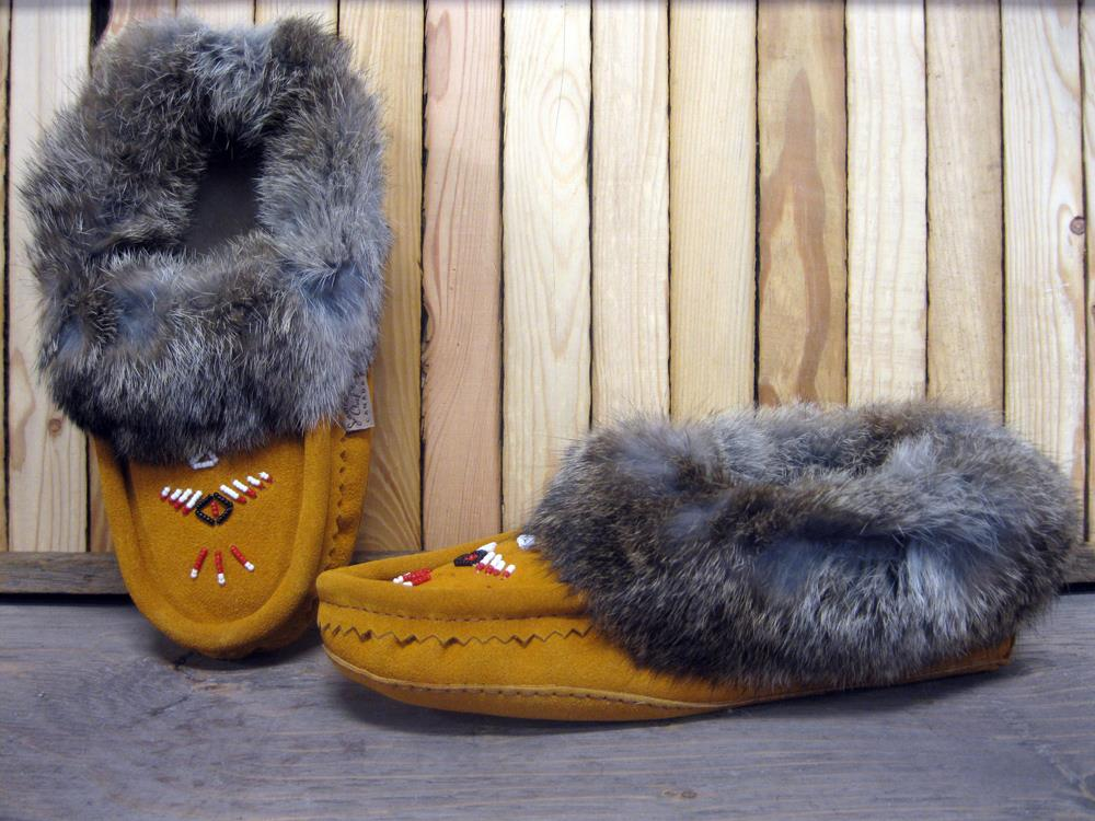 Ladies Suede Fur Moccasin in Indian Tan
