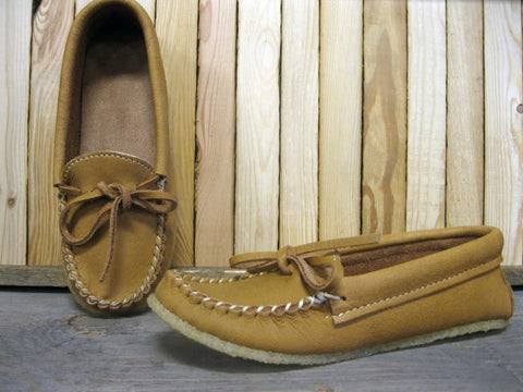 Ladies Moose Hide Moccasin with Gum Sole