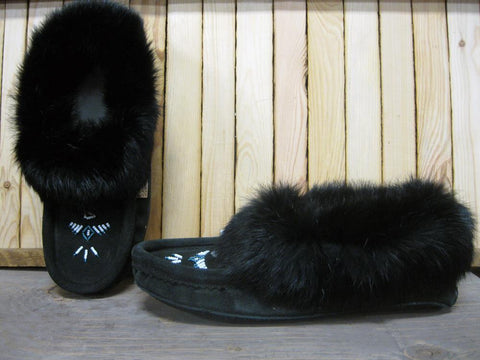 Ladies Soft Fur Slip On Moccasin in Black
