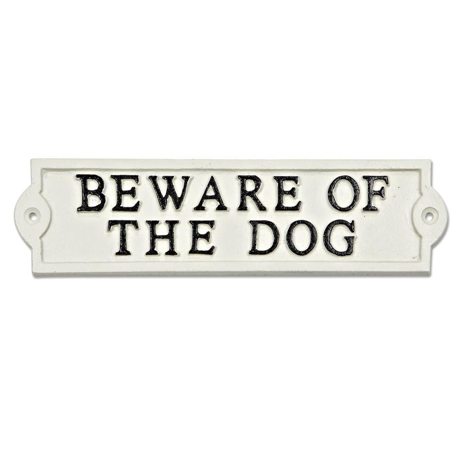 Beware the Dog White Rect. Plaque