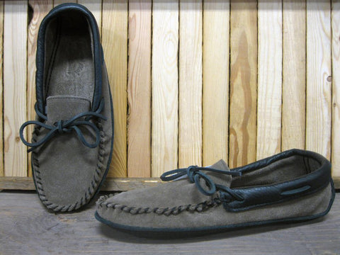 Men's Suede Padded Moccasin in Grey & Black
