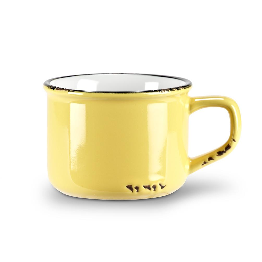 Enamel Look Cappuccino Mug - Yellow