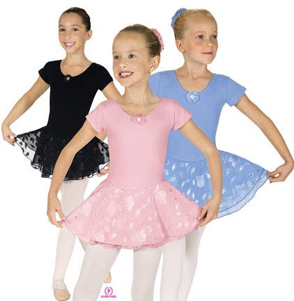 Child Short Sleeve Leotard w/Double Laye3r Skirt (01467)