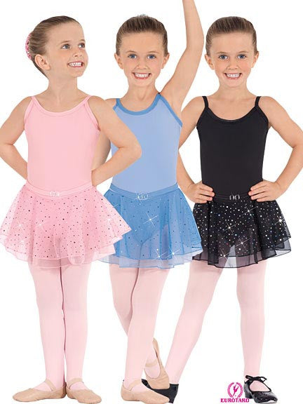 Child Cotton/Lycra Camisole Leotard w/Attached Belt & Sequined Tulle Skirt (0205)