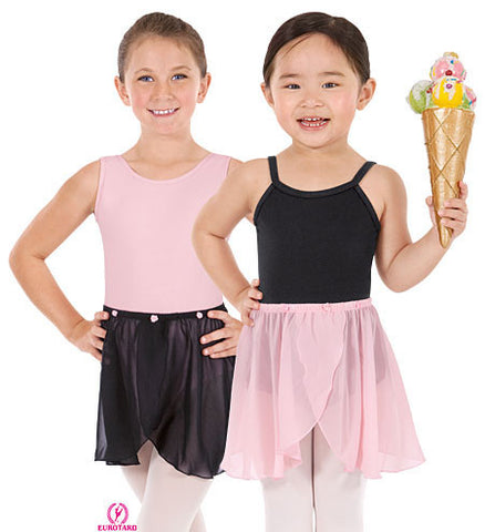 Child Chiffon Pull-On Mock Wrap Skirt w/Rose Detail (02173)