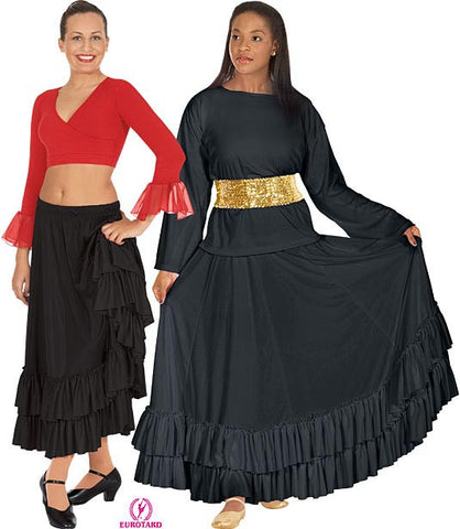 Adult Flamenco Skirt w/Double Ruffle & Drawstring Waist (08803)