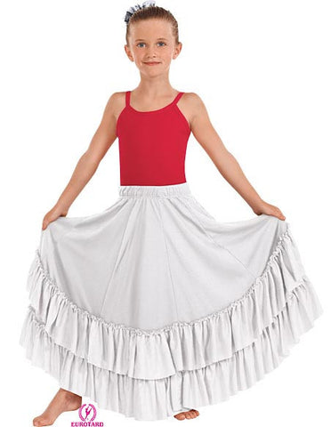 Child Flamenco Skirt w/Double Ruffle & Drawstring Waist (0880c3)
