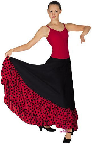 Adult Flamenco Skirt w/Polka Dot Double Ruffle (08804)