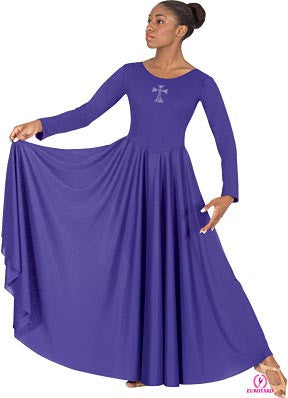 Plus Size Polyester Dress w/Rhinestone Cross Applique (11022P)