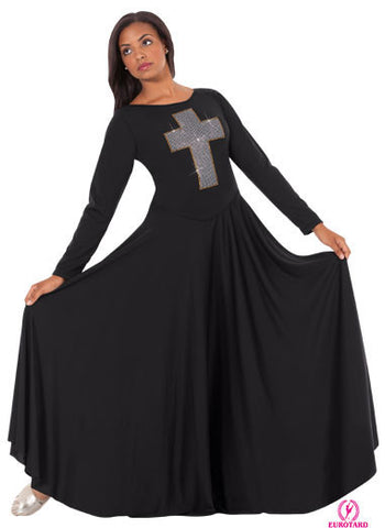 Adult Polyester Dress w/Cross applique of Silver Studs & Gold Accent Trim (11027)