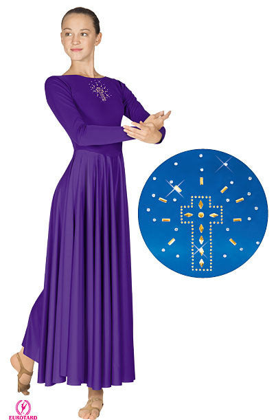 Plus Size Polyester Dress w/Shining Cross Applique (11524p)