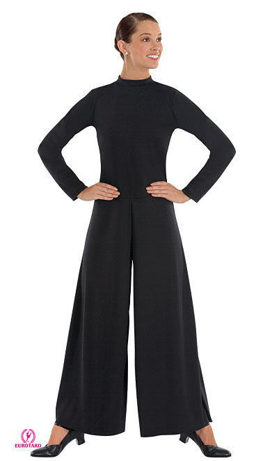 Plus Size Polyester High Neck Jumpsuit (13846p)