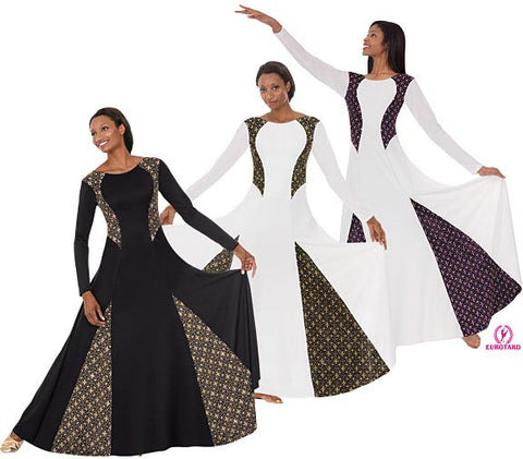 Adult Long Sleeve Polyester Dress w/Sparkling Metallic Insets (13855)