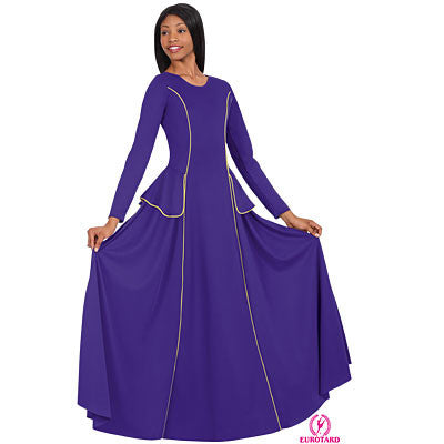 Adult Long Sleeve Princess Seam Dress w/Peplum Detail (13857)