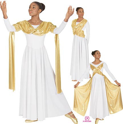Plus Size Polyester Liturgical Dress w/Attached Metallic Sash Overlay (14124p)