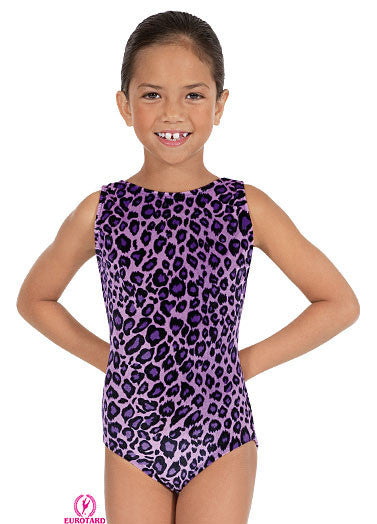 Child Velvet Leopard Print Gym Tank Leotard (2089)