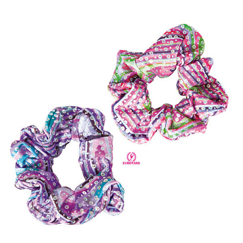 Metallic Printed Sequin & Kaleidoscope Design Scrunchie  (23172)