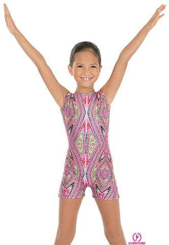Child Metallic Printed Sequin & Kaleidoscope Design Gym Tank Biketard (23503)