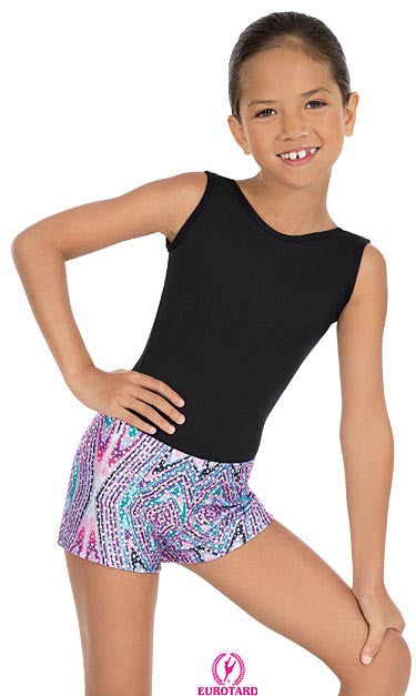 Child Printed Sequin & Kaleidoscope Design Booty Shorts (23535c)