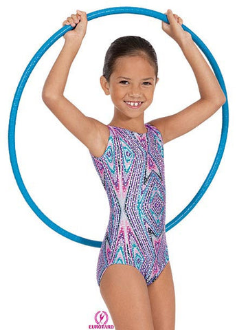 Child Metallic Printed Sequin & Kaleidoscope Design Gym Tank Leotard (2389)