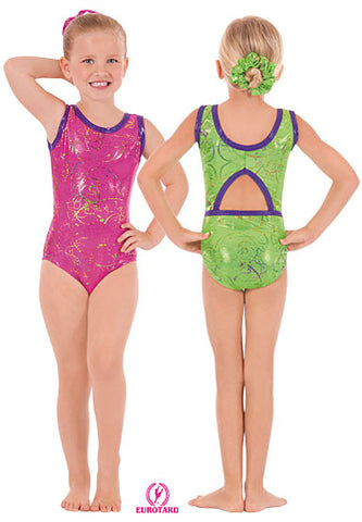 Child Metallic Splatter Gymnastics Tank Leotard w/Cut Out Back & Contrast Trim (30874)