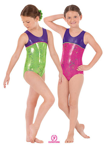 Child Metallic Splatter Two-Tone Gymnastics Tank Leotard w/Contrast Piping (30875)