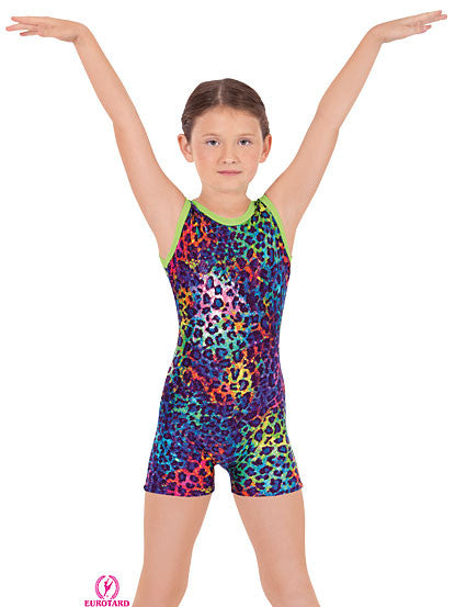 Child Multi Color Sparkle Leopard Print Gymnastics Biketard (31699)