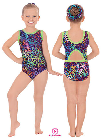 Child Multi Color Sparkle Leopard Print Two-Tone Gymnastics Leotard (31875)