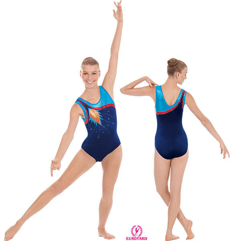 Adult Velvet and Metalic Foil Gymnastics Tank Leotard w/Rhinestone Detail (32008)