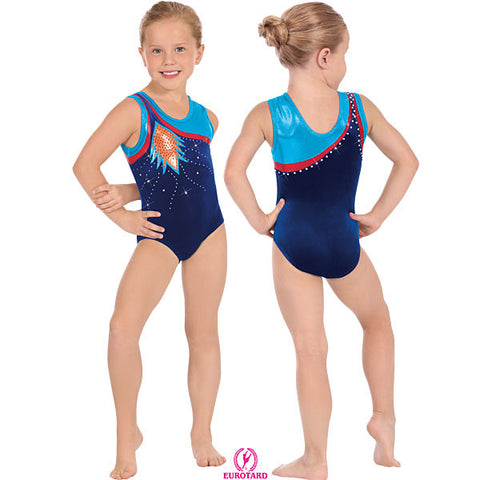 Child Velvet & Metallic Foil Gymnastics Tank Leotard w/Rhineston Detail (32008c)