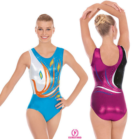 Adult Metallic Foil Gymnastics Tank Leotard w/Rhinestone Detail (32012)