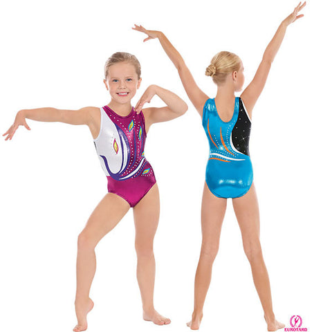 Child Metallic Foil Gymnastics Tank Leotard w/Rhinestone Detail (32012c)