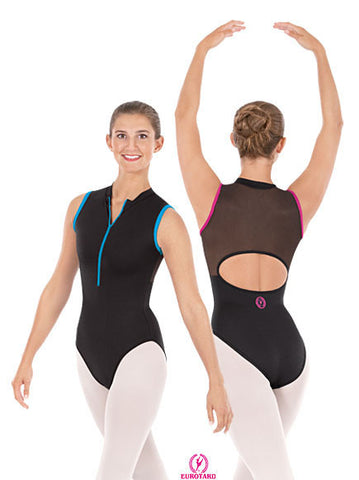 Adult Microfiber Zipper Front Mesh Back Sleeveless Leotard (33519)