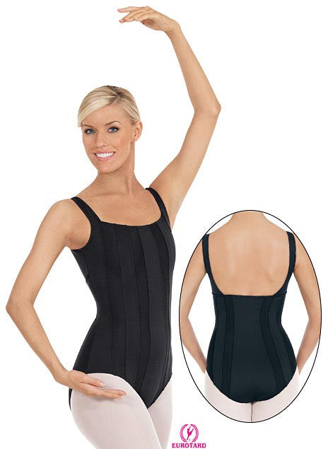 Adult Microfiber Square Cut Leotard w/Vertical Mesh Inset Panels (33815)