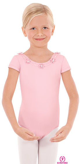Child Tactel Short Sleeve Leotard w/Pearl Accented Flowers (33914)